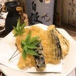 喜助 - ハリイカと茄子の天ぷら