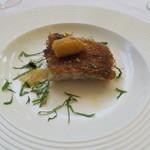 ヌキテパ - 30年4月 甘鯛、カダイフロースト レモンバームソース 乾燥鮃卵