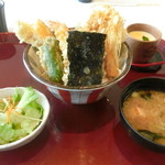海鮮蔵 魚魚魚 - あなご一本天丼海老天付き