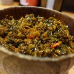 博多屋台 - 辛子高菜でご飯。
