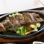 豊浜サービスエリア(上り) レストラン 千登世 - ステーキは濃いめの味付けで良かった  肉と野菜もいい  ジューっと飛び散り熱々♪こちらも紙エプロンあり