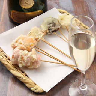 【創作串天ぷら専門店】シャンパンや日本酒とともにおまかせ揚げ