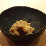 85045788 - ◆余市の鮟肝、刻んだ奈良漬入り これ面白い。鮟肝と奈良漬って以外に合います。お酒がすすみますよ。