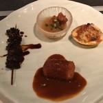備長炭ステーキ炉 Sakai - オコゼのみぞれ掛け、蛤、タラバ蟹クリームコロッケ、牛土手煮の前菜