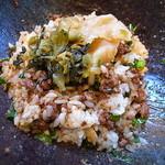汁なし担々麺 階杉 - 搾菜、高菜オンした〆の坦坦飯