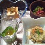 8508170 - 能登もずくにオクラ,卯の花,氷室豆腐,地鶏黒酢煮