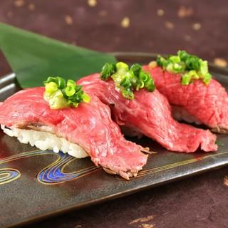 【黒毛和牛肉寿司】【和牛赤身の肉なめろう軍艦】各620円