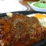 キッチンふじ - 料理写真:ハンバーグステーキ、サラダ、目玉焼きが付きます