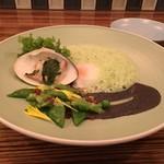 """85110301 - """"スペシャリテの卵の一皿より"""" 青海苔香る桑名の蛤と緑野菜の黒胡麻和え"""