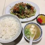 食道楽 - 野菜と肉炒め&ライス
