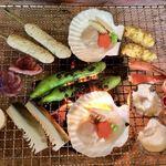 竹仙郷 - まずは空豆を真っ黒に焼いて♪
