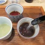 手打ち蕎麦 雷鳥 - 3種のつゆに蕎麦湯を