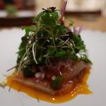 日本料理 鶴寿 - 北海道の桜鱒の軽い燻製アップ