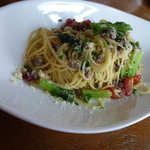 モリモト - 料理写真:ターツァイと豚挽き肉のスパゲッティ。