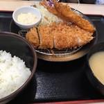 松のや - ロース&海老2尾定食 ¥880