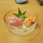 浅草じゅうろく - 稲取金目鯛熟成刺身、釧路うに