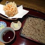 紗羅餐 - 桜海老のかき揚げとそば(十割に変更・1,750円)