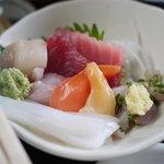 食い処 くりたや  - 2011/7 市場定食の刺身。箸が写っちゃった