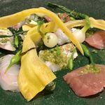 トラットリア テンポ ドーロ - アンティパスト2 太刀魚、真鯛、メジマグロのカルパッチョ