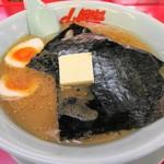 ラーメン山岡家 - 味噌ラーメン650円+バタートッピング60円+無料クーポンで味玉トッピング