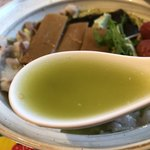 びいどろ - 黒豚グリーティーヌードル((Dr.鎌田監修BPG)1,000円…ありそうでなかった抹茶のスープです