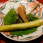 与志福 - ヤングコーン、枝豆、ステーキ椎茸、飛鳥の蘇、ほおずき
