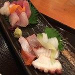 鮨市 - 海鮮定食のお造り6種手前 コウイカ タコ サーモン