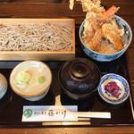 藤かけ - ミニ穴子天丼と蕎麦セット  930円