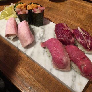 中野 肉寿司 - 厳選肉トロ盛り合わせ 1600円/1人前×2人前