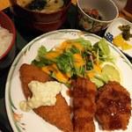呑ん太 - 料理写真:呑ん太(週替り)定食:ミックスフライ