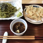 和食処 つきやま - 料理写真:茶蕎麦とシラスのかき揚げ1,080円