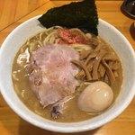 永太 - 「ラーメン 中盛」750円、味玉(4周年記念 甘海老と渡り蟹のスペシャルスープ)