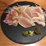 奄美居酒屋ごっぱち - 地鶏オールスター刺身盛 モモ、ムネ、ササミ