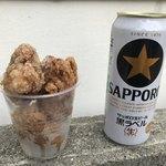 鶏金商店 - 鶏金唐揚げ(500円)と黒生のロング