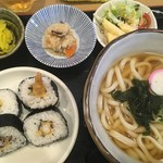 宮屋 - ランチ:えび天巻き定食(うどん大盛り)950円