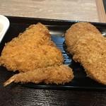 豊崎食堂 - ミックスフライ(エビ、コロッケ、メンチカツ、お魚)