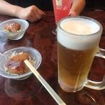 135酒場 御徒町店 - お通しと生ビール、カムカムソーダ(^∇^)