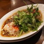 豊栄 - 金目鯛の蒸し物とその汁に極細麺を入れて