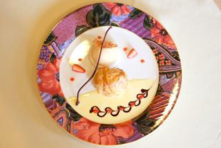 ポルトブラン - シュフおまかせ 3250円 のアップルパイシュー、ブランマンジェ、林檎のシャーベット