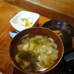 熊や - お刺身セット定食の野菜汁