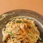 CAVA - 料理写真:フランス産鴨とマイタケのトマトクリームパスタ 1200円