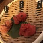 九州 熱中屋 - 三種の明太子    これだけでご飯食べちゃうけど(*≧∀≦*)