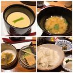 海峯魯 - ◆茶碗蒸しは具材は少ないですが、良い味わい。 ◆お味噌汁はお豆腐入り。 ◆ご飯は普通に美味しい。 ◆「おきゅうと」は好みませんので、残しました。 ◆デザートは「わらび餅」