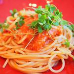85296270 - ランチコース 4104円 のズワイ蟹のアラビアータソース スパゲッティ