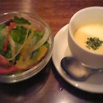 クアトロ - サラダ、コーンの冷製スープ