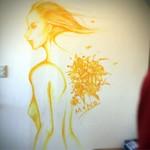 ラザーニャ・ラザーニャ - お店に入るとすぐ壁面に描かれています       素敵( ´ ▽ ` )