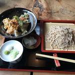 手打ちそば松竹 - 天丼セット ¥1,000