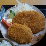 さかいや食堂 - 揚げ物(コロッケ、ハムカツ)