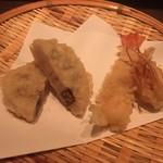 ワインと天ぷら マエヤシキ - 料理写真:天ぷら(海老・蓮根)