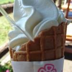 とうふ工房 わたなべ - 豆乳ソフトクリームミニ200円